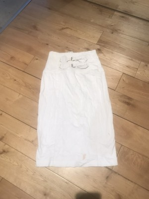 White pencil skirt corset style waist belt 2 marks 8