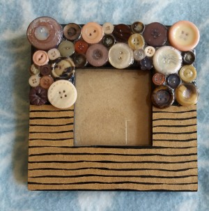 Handcrafted Button Mosaic Photo Frame
