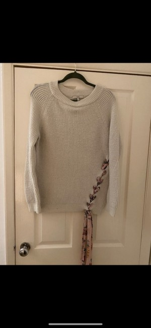 Next cream wool jumper with floral ribbon size 10