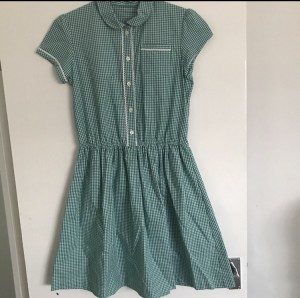 Green school button up summer dress