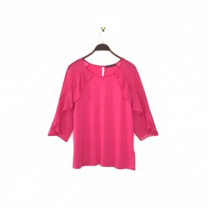 M&S Fuchsia Pink Top 14 Bright Sheer Frill Long Sleeve Marks Spencer
