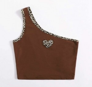 Shein brown leopard print one shoulder top size small