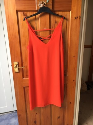 Red cami dress