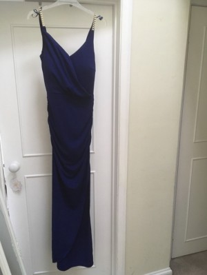 Michelle Keegan Lipsy slinky navy blue long dress with gold straps