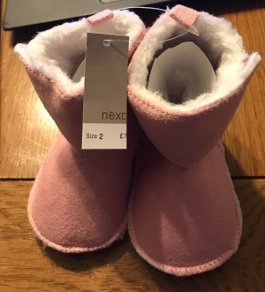 BRAND NEW 'Next' Fur Lined Pink Baby Booties with Velcro fastening