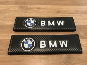 2X Seat Belt Pads Carbon Gifts BMW 1 2 3 4 5 6 7 Series M Z4 X5 X6 X3