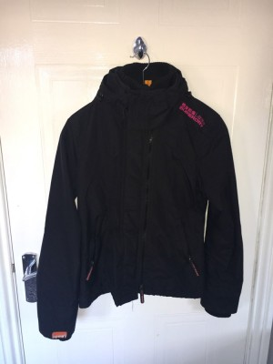 Superdry jacket size small amazing condition black with pink interior