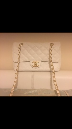 Chanel white classic style bag