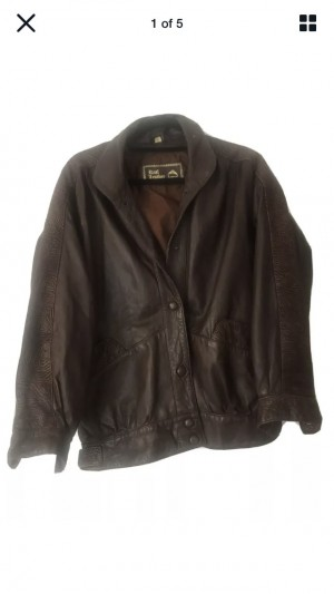 Vintage 100% Leather Trendy Hipster Brown Edgy Jacket Size Medium Beau