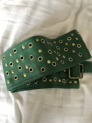 Green and gold leather belt