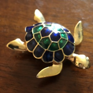 Gold Plated Enamelled Sea Turtle Brooch Pin