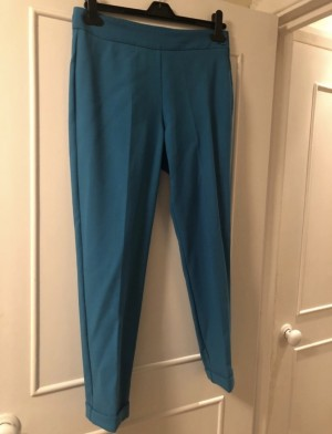 French Connection kingfisher blue tailored cropped trousers worn once