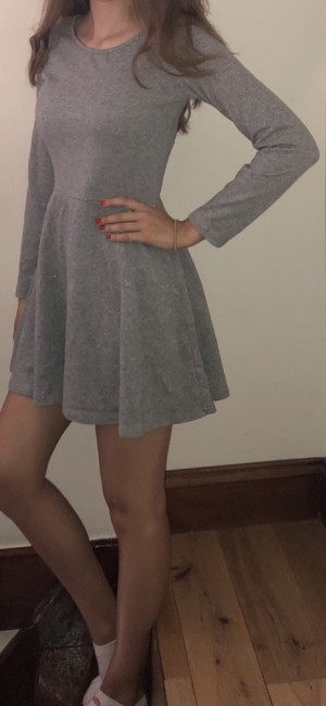 H&M Short Grey Glittery Dress For Girls Aged 13-15