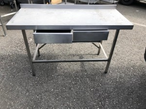 Stainless Steel Table with 2 Drawers and Undershelf (1500 x 650 x 900m
