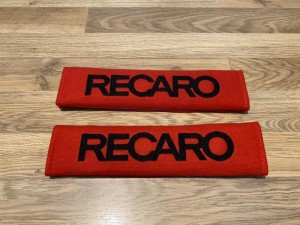 2X Car Seat Belt Pads Cotton Red Gifts Recaro Seats Motorsport Race Ra