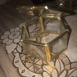 Brass Rimmed Vintage Glass Box, perfect for jewellery or anything else