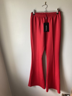 Red pretty little thing flared trousers bnwt