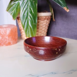 Vintage Hand Turned Wooden Trinket Bowl with Gold Inlay