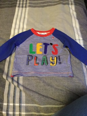 Baby Boys Long Sleeved Blue & White Striped Top - Aged Newborn
