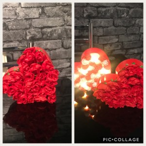 Led heart lights decorated with flowers