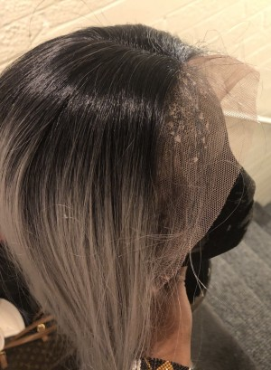 Lace front synthetic grey wig