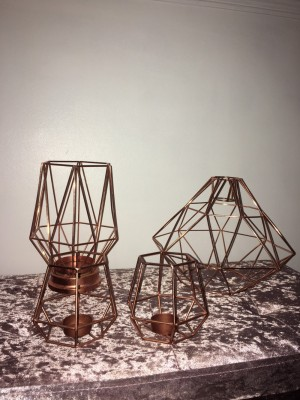 Rose gold light shade,candle holder and tea light holders