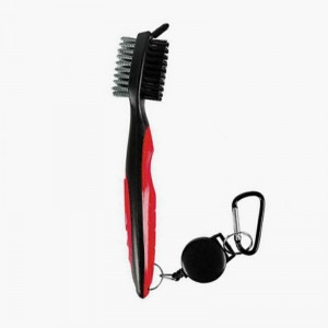 Golf Club Cleaning Tool Groove Brush Cleaner for Iron Wood Clubs-Red
