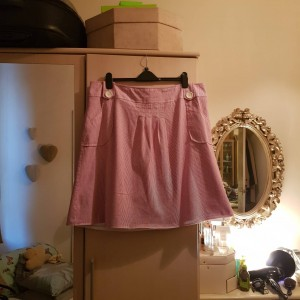 Evans Pretty Pink Striped and Lined Cotton Skirt Size 22