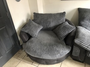 grey sofa and cuddle chair