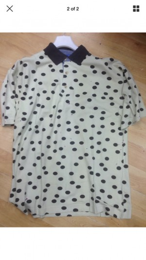 Polo t shirt black polka dots