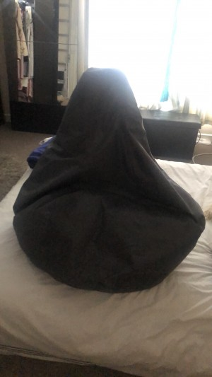 A grey large bean bag good condition