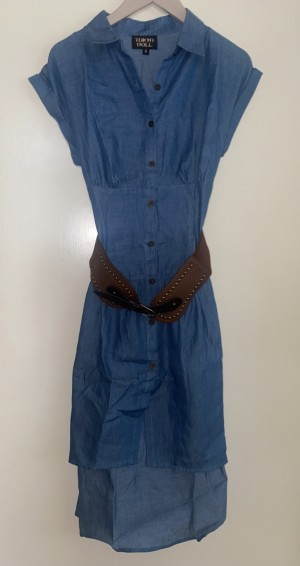 New Look blue dress with brown belt