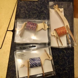 3x Cute Wooden 3D Animal Tape Dispenser + 9 Washi Craft Adhesive Tapes