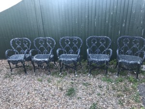 Cast iron 5 garden chairs very heavy