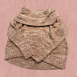 mocha brown off the shoulder y2k 2000s style cable knit jumper S