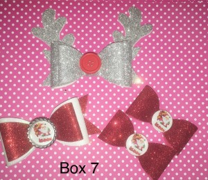 Box of Christmas bow clips