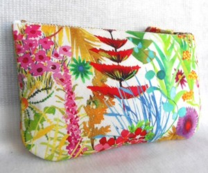 Liberty Fabric Zip Purse Tana cotton Lawn 'Tresco' in white green pink red free P&P
