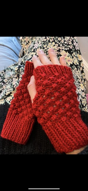 Red wool fingerless knitted gloves