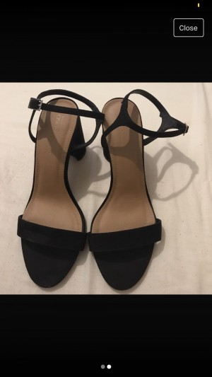 thick black open toed heel