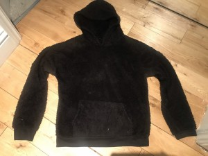 Black fleece hoodie snuggly winter warm cosy size small - med unisex