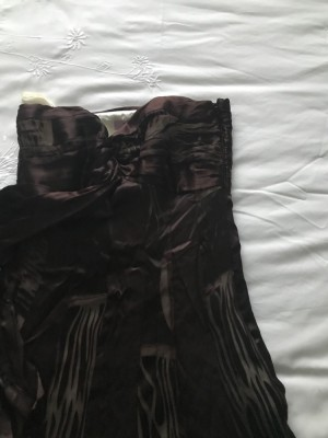 Monsoon floor length dress chocolate colour size 10 price includes P&P