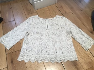 Cute Victorian style white spring summer crochet top UK 10