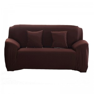 Polyester Spandex Fabric 1Piece Stretch Slipcover 2Seats Sofa Brown