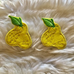 Pair of Yellow Fruit Embroidered Patch Appliqué Iron On New