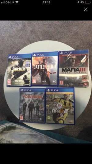 5 PS4 games all great condition, mafia 3 and the division both unopened.