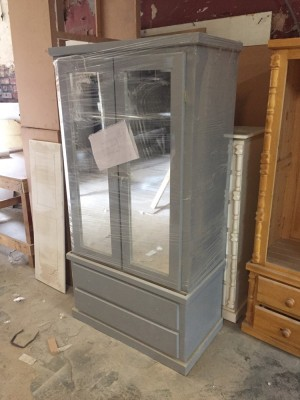 Grey double mirror wardrobe