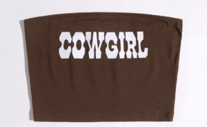"""Shein brown """"cowboy"""" letter graphic tube top  size small"""