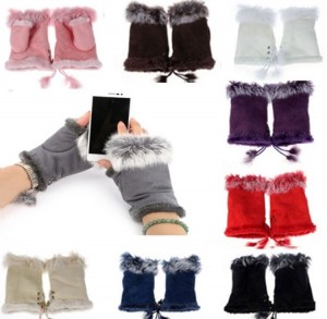 New black suede and fur fingerless gloves with fleece lining. £10 PayPal and I post same day or next day thank you.