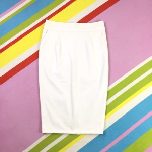 River Island Cream PVC Skirt New uk 12 Pencil Wiggle Faux Leather