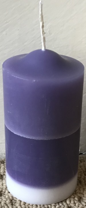 2 toned purple and white scented pillar candle